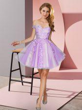 Sumptuous Lavender Zipper Quinceanera Court Dresses Appliques Sleeveless Mini Length