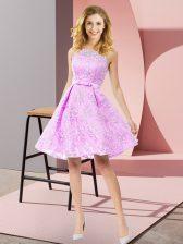 High Class Lilac Sleeveless Bowknot Knee Length Quinceanera Court of Honor Dress