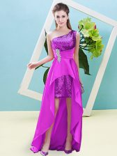 Fuchsia Elastic Woven Satin and Sequined Lace Up Sleeveless High Low Beading and Sequins
