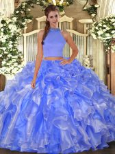 Best Selling Blue Halter Top Backless Beading and Ruffles Quinceanera Dress Sleeveless