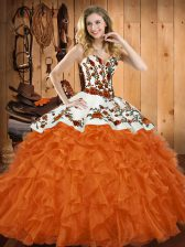 Orange Red Ball Gowns Embroidery and Ruffles 15 Quinceanera Dress Lace Up Organza Sleeveless Asymmetrical