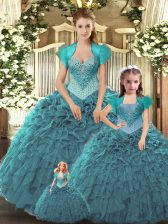 Pretty Teal Sleeveless Beading and Ruffles Floor Length Sweet 16 Dresses