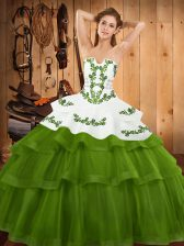 Olive Green Lace Up Quinceanera Dress Embroidery and Ruffled Layers Sleeveless Sweep Train