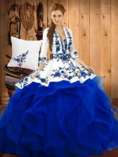 Sweetheart Sleeveless Quinceanera Gowns Floor Length Embroidery Blue Satin and Organza
