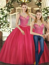 Hot Pink Straps Lace Up Beading Quinceanera Dress Sleeveless