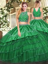Luxury Green Two Pieces High-neck Sleeveless Tulle Floor Length Zipper Beading and Embroidery and Ruffled Layers 15 Quinceanera Dress