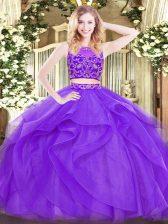 Latest Lavender Scoop Zipper Beading and Ruffles Quinceanera Dress Sleeveless