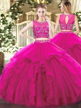 Romantic Sleeveless Tulle Floor Length Zipper Quinceanera Gowns in Fuchsia with Beading and Ruffles