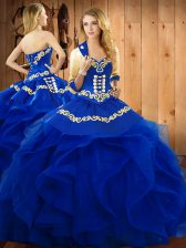 Glorious Blue Ball Gowns Embroidery and Ruffles Quinceanera Dresses Lace Up Organza Sleeveless Floor Length