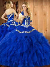 Fine Sleeveless Embroidery and Ruffles Lace Up Sweet 16 Quinceanera Dress