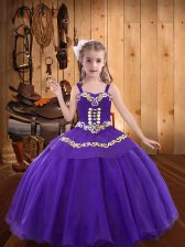 Sleeveless Embroidery Lace Up Little Girl Pageant Gowns