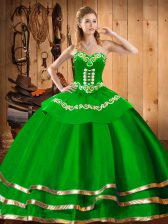 Sleeveless Organza Floor Length Lace Up Sweet 16 Dress in Green with Embroidery