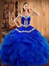 Custom Designed Sweetheart Sleeveless Quinceanera Dress Floor Length Embroidery and Ruffles Royal Blue Satin and Organza