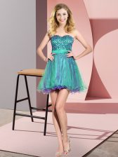 Multi-color Sleeveless Tulle Lace Up Quinceanera Court Dresses for Prom and Party and Wedding Party
