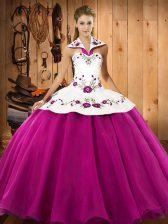 Traditional Floor Length Fuchsia Vestidos de Quinceanera Halter Top Sleeveless Lace Up