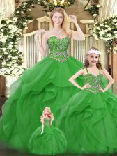 High End Green Sweetheart Lace Up Beading and Ruffles Quinceanera Gown Sleeveless