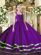 Traditional Purple Straps Neckline Beading and Ruffled Layers Quinceanera Dresses Sleeveless Zipper