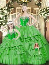 Pretty Green Organza Lace Up Sweetheart Sleeveless Floor Length Ball Gown Prom Dress Beading and Ruffled Layers