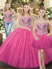 Floor Length Lace Up Sweet 16 Dress Hot Pink for Military Ball and Sweet 16 and Quinceanera with Beading