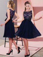 Modern Black Empire Chiffon Scoop Sleeveless Lace and Bowknot Knee Length Side Zipper Homecoming Dress