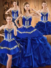 Royal Blue Sweetheart Lace Up Embroidery and Ruffles Quinceanera Dresses Sleeveless