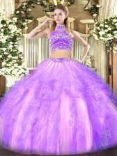 Glorious Floor Length Two Pieces Sleeveless Lavender Vestidos de Quinceanera Backless