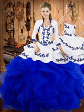High Class Blue Sleeveless Satin and Organza Lace Up Sweet 16 Dress for Military Ball and Sweet 16 and Quinceanera
