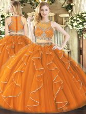 Orange 15 Quinceanera Dress Military Ball and Sweet 16 and Quinceanera with Beading and Ruffles Scoop Sleeveless Zipper
