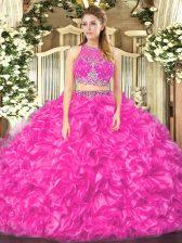 Custom Design Sleeveless Organza Floor Length Zipper 15 Quinceanera Dress in Fuchsia with Beading and Ruffles