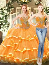 Orange Red Organza Lace Up Sweetheart Sleeveless Floor Length Sweet 16 Quinceanera Dress Beading and Ruffled Layers