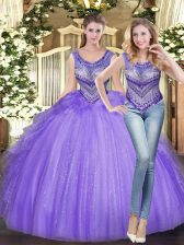 Trendy Sleeveless Beading and Ruffles Lace Up Sweet 16 Quinceanera Dress