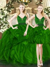Ball Gowns Sweet 16 Quinceanera Dress Dark Green Straps Tulle Sleeveless Floor Length Lace Up