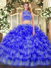 Vintage Tulle Sleeveless Floor Length Quinceanera Gown and Beading and Ruffled Layers