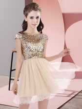Mini Length Zipper Quinceanera Court Dresses Champagne for Prom and Party and Wedding Party with Sequins