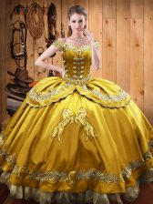 Fantastic Ball Gowns Sweet 16 Quinceanera Dress Gold Off The Shoulder Satin and Organza Sleeveless Floor Length Lace Up