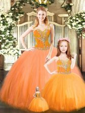Graceful Orange Red Lace Up Sweetheart Beading Quinceanera Dress Tulle Sleeveless
