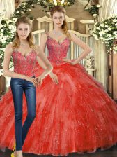 Extravagant Floor Length Two Pieces Sleeveless Red Quinceanera Dresses Lace Up