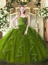 Sleeveless Zipper Floor Length Ruffles Sweet 16 Dresses
