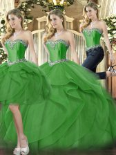 Perfect Green Lace Up Quinceanera Gowns Beading and Ruffles Sleeveless Floor Length
