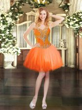Suitable Mini Length Orange Red Prom Evening Gown Sweetheart Sleeveless Lace Up