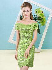 Hot Selling Mini Length Column/Sheath Short Sleeves Yellow Green Prom Dress Zipper