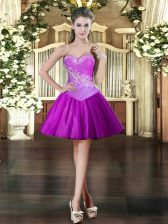 Lovely Mini Length Purple Sweetheart Sleeveless Lace Up