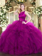 Custom Fit Fuchsia Organza Clasp Handle Quinceanera Gowns Sleeveless Floor Length Ruffles