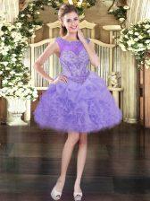 Glittering Sleeveless Lace Up Mini Length Beading and Ruffles and Pick Ups Homecoming Dress