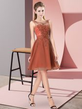 Customized Rust Red Empire Scoop Sleeveless Chiffon Knee Length Zipper Appliques Dama Dress for Quinceanera