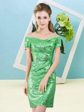 Short Sleeves Zipper Mini Length Sequins Evening Dress