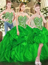 Smart Green Sweetheart Lace Up Beading and Ruffles Sweet 16 Quinceanera Dress Sleeveless