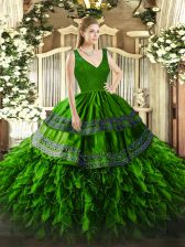 Organza V-neck Sleeveless Zipper Beading and Appliques and Ruffles Sweet 16 Dress in Green