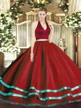 Chic Wine Red Halter Top Neckline Ruffled Layers Quinceanera Gowns Sleeveless Zipper