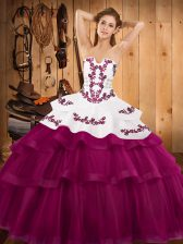 Fuchsia 15 Quinceanera Dress Military Ball and Sweet 16 and Quinceanera with Embroidery and Ruffled Layers Strapless Sleeveless Sweep Train Lace Up